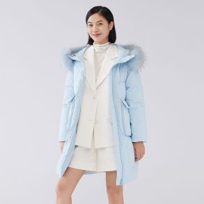 秋冬新款大毛领保暖羽绒服中长款6020401051