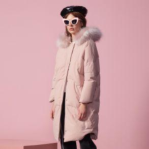 艾莱依2018冬季新品专柜同款羽绒服趣味圆版kitty联名系列大毛领大衣601801263