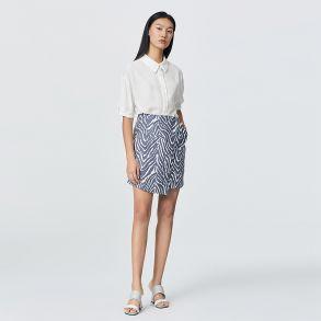 时尚斑马纹a字短裙女性感通勤不规则半身包臀裙6021535026