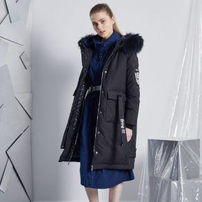 2017冬季变形金刚新品印花织带大衣款羽绒服617105132