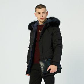 艾莱依2018冬季新品羽绒服专柜同款男士大毛领挺阔绅士短大衣601841012
