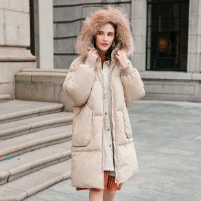 毛晓彤明星同款艾莱依2018冬季新品大英博物馆联名系列羽绒服专柜同款大毛领花式贴布绣大衣601801173